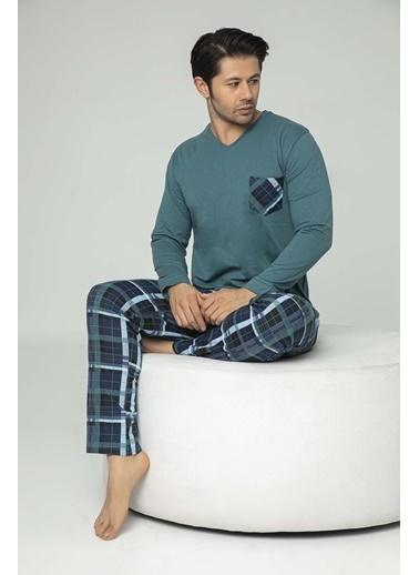 Aydoğan Erkek Süprem Uzun Kollu Altı Ekoseli Pijama Takımı Renkli
